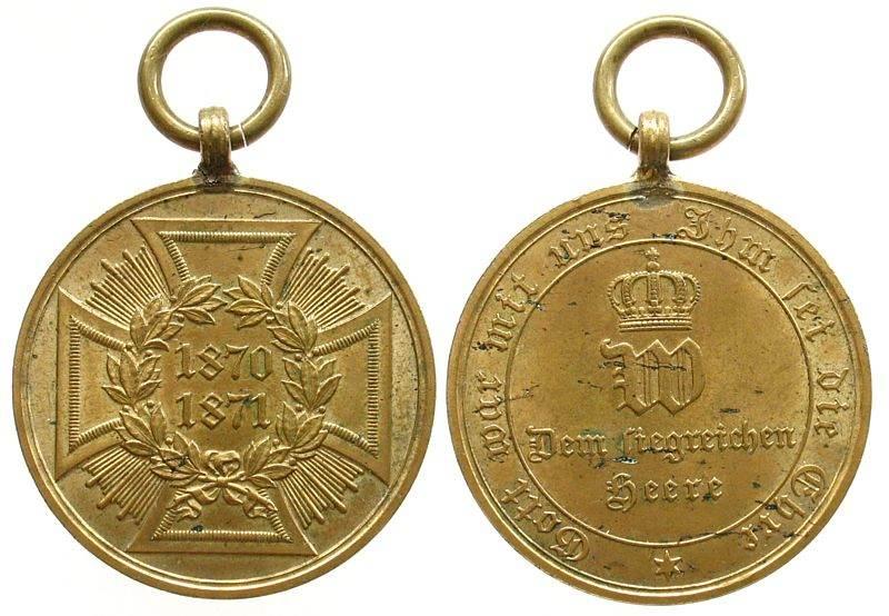 tragbare Medaille 1871 vor 1914 Bronze Preussen, dem siegreichen Heere 1870/71, mit Randschrift, im Mittelfeld gekröntes W - darunter dem siegreichen Heere - Um vz