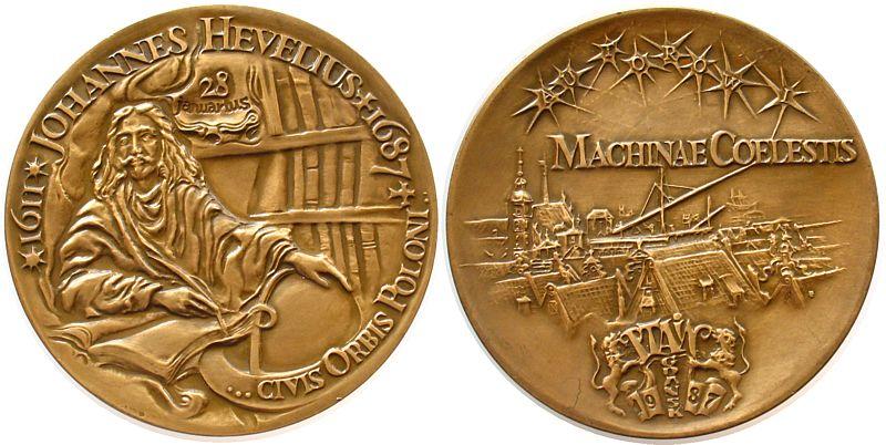 Gußmedaille 1987 Personen Bronze Johannes Hevelius (1611-1687), Astronom, auf seinen 300. Todestag, Hevelius am Schreibtisch sitzend / Sternbild über Stad prägefrisch