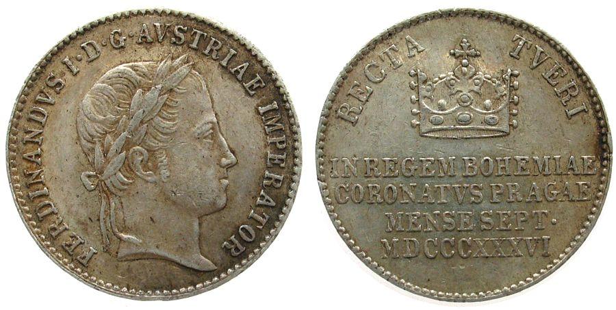Jeton 1836 Österreich Silber Ferdinand I (1835-1848), auf die Krönung, Böhmen, ca. 20,5 MM ss+