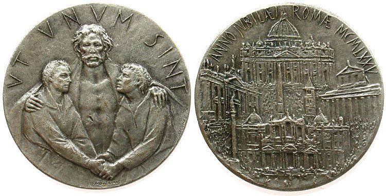 Medaille 1975 Vatikan Bronze versilbert Paul VI (1963-1978), auf das heilige Jahr, Jesus mit zwei Menschen / verschiedene Kirchengebäude in Rom, v. Ma vz