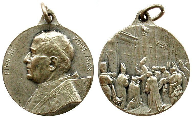 tragbare Medaille o.J. Vatikan Bronze versilbert Pius XII (1939-1958), auf das heilige Jahr, unsigniert, 25,5 MM vz