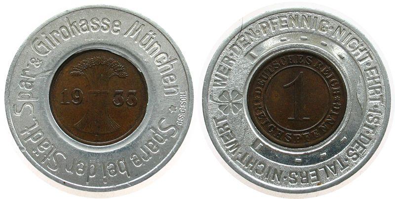 Jeton 1933 München Alu-Bronze Städtische Spar- & Girokasse München, ca. 33,5 MM, Rentenpfennig 1933 A in vz-stgl vz-stgl