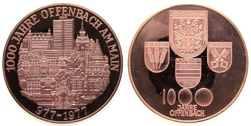 Medaille 1977 Städte Kupfer Offenbach - auf die 1000 Jahrfeier, Stadtansicht / Wappen, ca. 50 MM pp