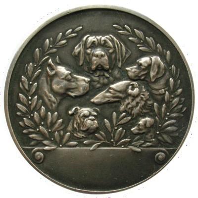 Medaille o.J. Tiere Weissmetall verschiedene Hunderassen, einseitig, v. VK&ZN, 41 MM vz
