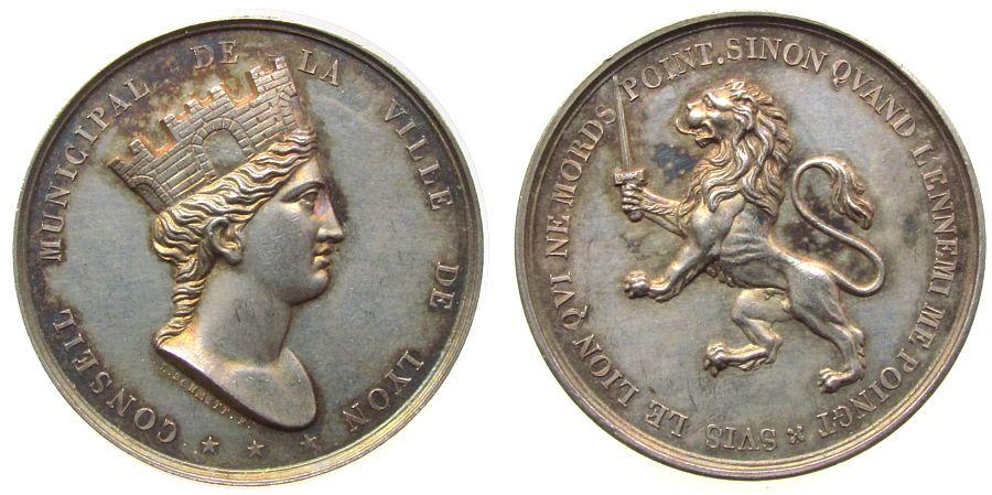 Medaille o.J. Frankreich Silber Lyon, 1832-1841, auf die Reorganisation des Magistrats der Stadt Lyon, Stadtgöttin mit Mauerkrone nach links - Conseil Mu vz