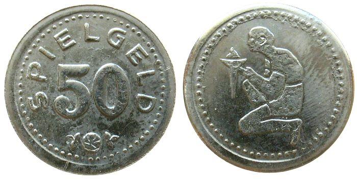 Spielgeld o.J. Jetons Nickel Mann mit Fackel - 50 Pfennig, ca. 15 MM ss