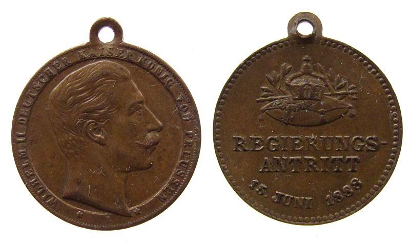 tragbare Medaille 1888 vor 1914 Messing Wilhelm II (1888-1918) - Regierungsantritt, ca. 22 MM vz