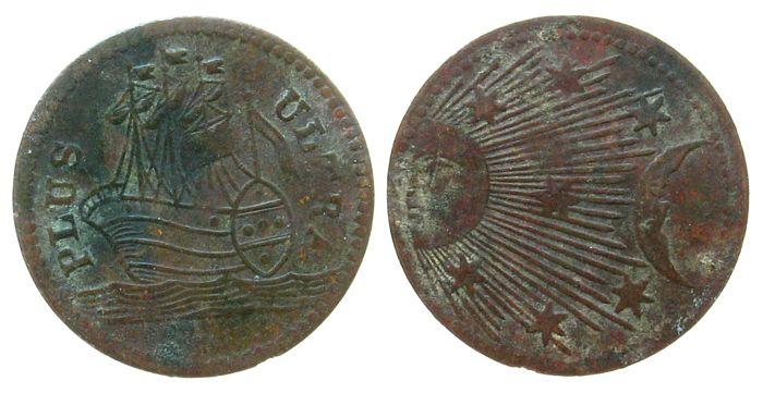 Spielgeld o.J. Jetons Bronze Plus Ultra - Sonne-Mond-Sterne, ca. 15 MM ss