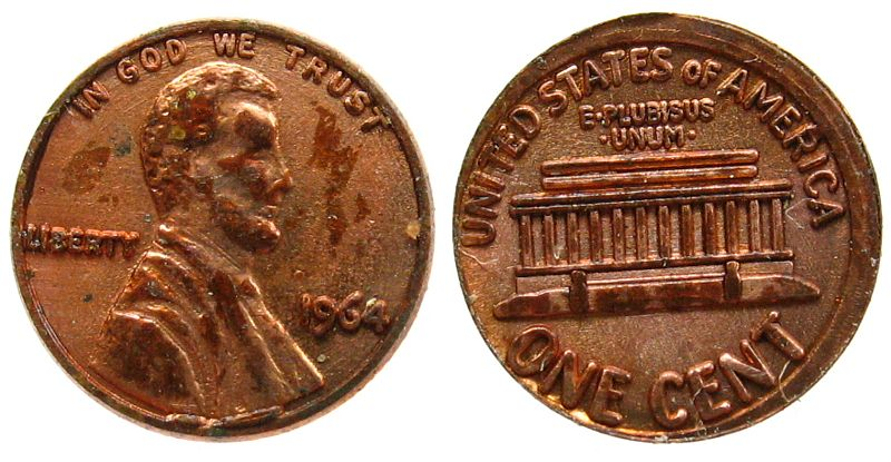 Cent 1964 USA Bronze Nixon Penny, ..and getting smaller smaller, ca. 7 MM ss