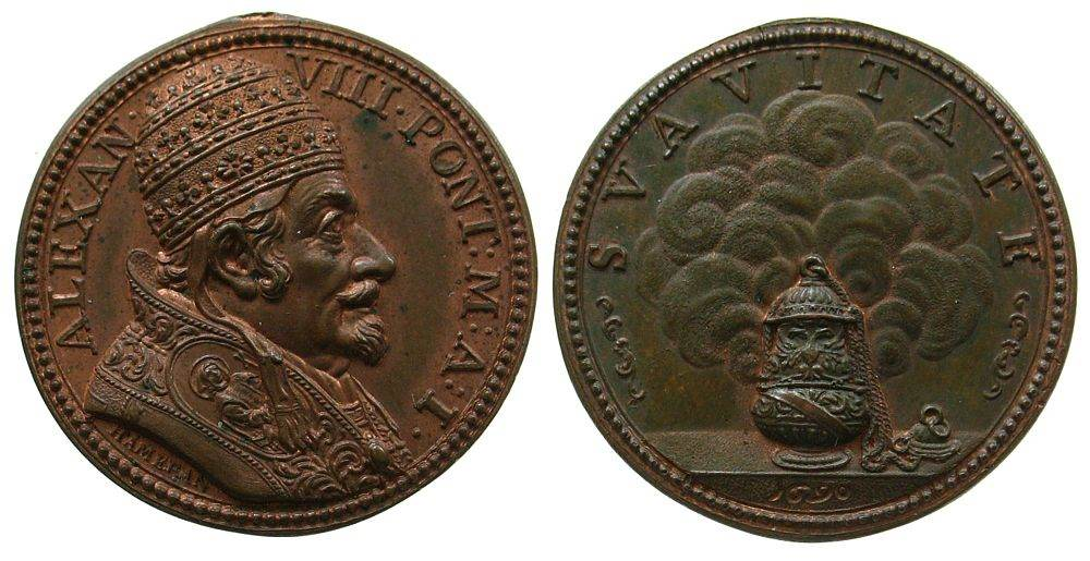 Medaille 1690 Vatikan Bronze Alexander VII (1689-1691), Weihrauchgefäß, v. I. Hamerani A I, 30,5 MM, spätere Prägung um 1800, Mazio 352 vz