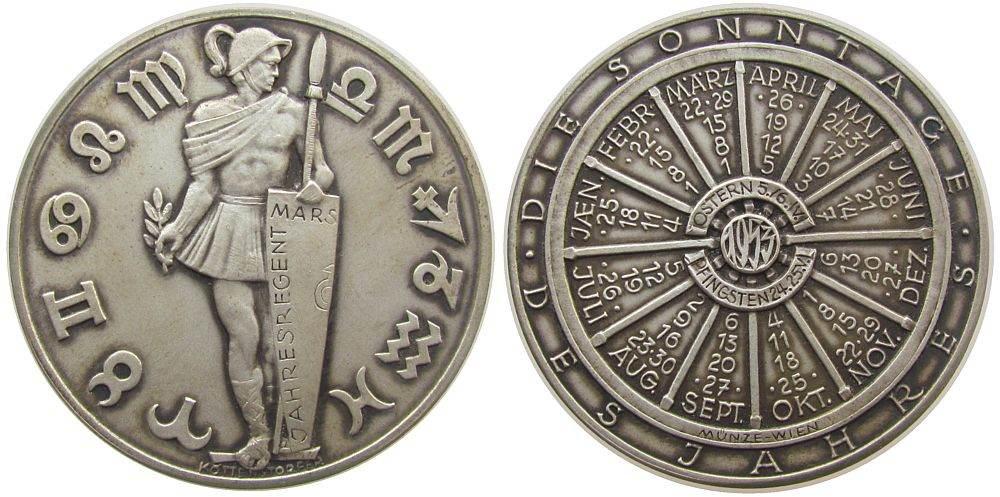 Medaille 1953 Kalendermedaille Silber Mars, v. Köttenstorfer, ca. 40 MM, ca. 25,63 Gramm, mattiert, Rand: A900 stgl-