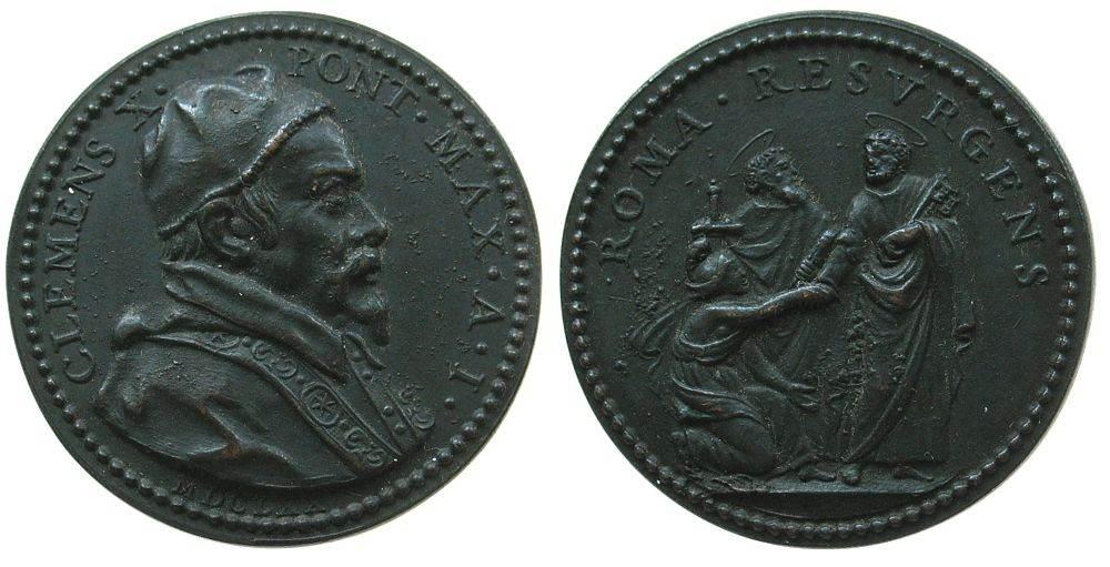 Medaille 1670 Vatikan Bronze Clemens X (1670-1676), A I (1670), knieende Roma vor Petrus und Paulus, , v. G. Lucanti, 32 MM, spätere Prägung um 1800 vz