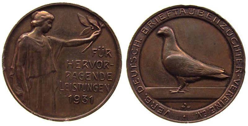 Medaille 1931 Tiere Bronze Verband Deutscher Brieftaubenzüchter Vereine e.V., Frau mit Lorbeerzweig / Brieftaube, ca. 38,2 MM, Randstöße ss-vz