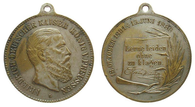 tragbare Medaille 1888 Friedrich III (1831-1888) Messing versilbert Friedrich III (1831-1888), auf seinen Tod, Büste nach rechts / lerne leiden ohne zu klagen, L (Lauer), ca. 40 ss