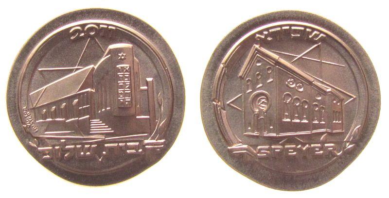 Medaille 2011 Speyer Bronze Speyer - Einweihung der Speyerer Synagoge, beidseitig Gebäude, v. V. Huster, ca. 32 MM, Auflage: ca. 200 Ex. stgl