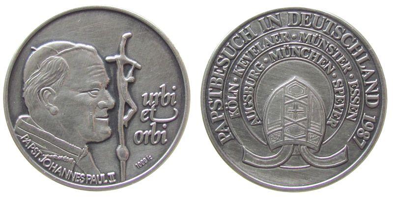 Medaille 1987 Speyer Silber Speyer - auf seine Papstreise in Deutschland, Brustbild Papst Johannes Paul II / Mitra, ca. 35 MM, ca. 16.80 Gramm vz-stgl