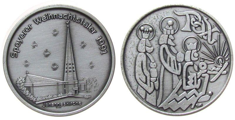 Medaille 1991 Speyer Silber Speyer - Weihnachtstaler 1991, Johanniskirche / Krippenbild, ca. 35 MM, ca. 15.04 Gramm, mattiert vz-stgl