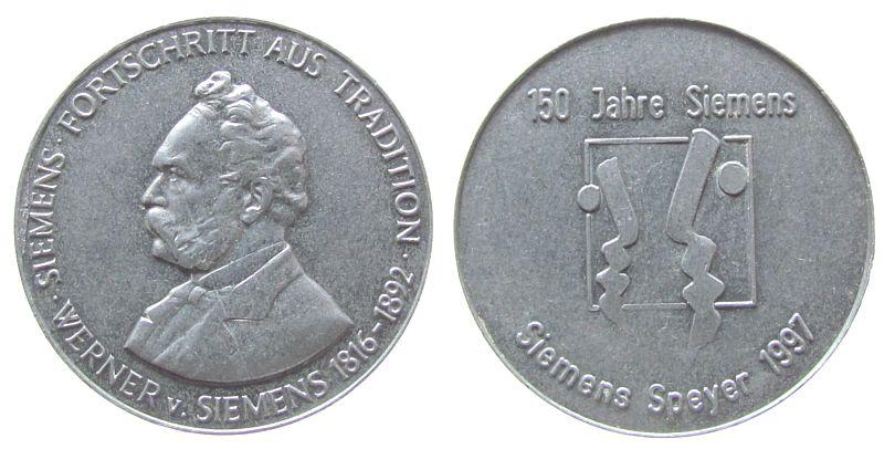 Medaille 1997 Speyer Aluminium Speyer - 150 Jahre Siemens, Brustbild nach links / Elekro-Symbol, ca. 40 MM vz