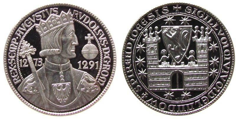Medaille 1973 Städte Silber Landau - auf die 700-Jahrfeier, Rudolf von Habsburg / ältestes Stadtsiegel, ca. 33,5 MM, ca. 14.09 Gramm pp