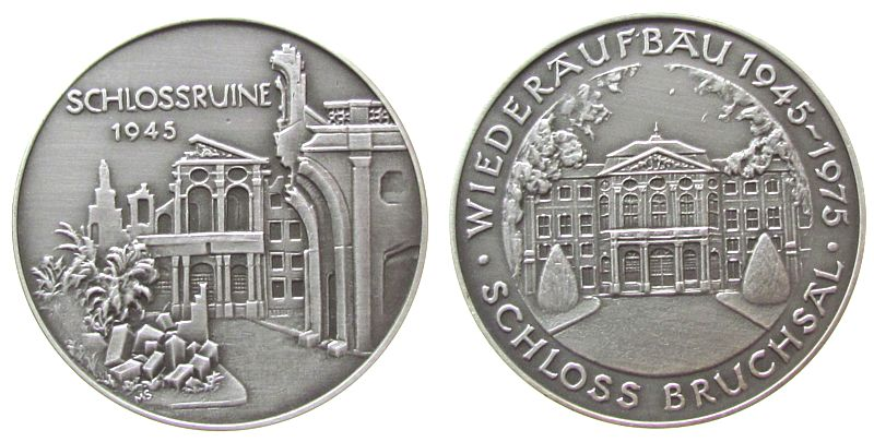 Medaille 1975 Städte Silber Bruchsal - auf den Wiederaufbau des Schlosses, Ruine / Schlossansicht, ca. 40 MM, ca. 24.03 Gramm, mattiert stgl