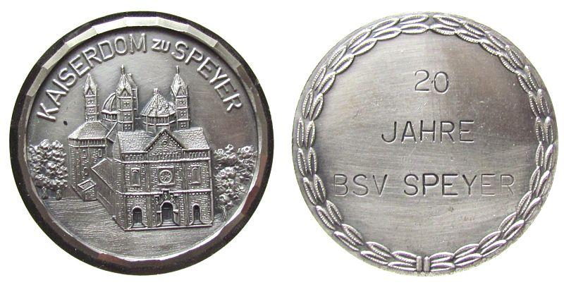 Plakette 1975 Speyer Weißmetall Speyer - 20 Jahre Briefmarken- Sammler- Verein, Dom / Mehrzeiler, ca. 41 MM vz