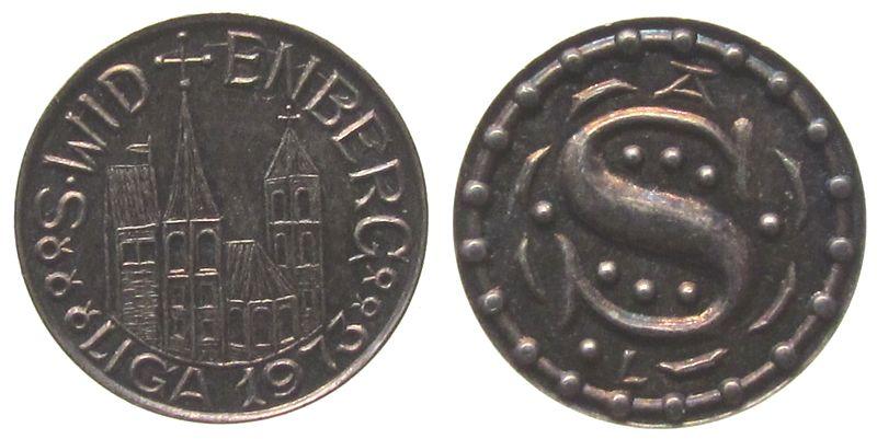 Miniaturmedaille 1973 Speyer Silber Speyer - auf den Neubau des Bankgebäudes der LIGA, Kirche /