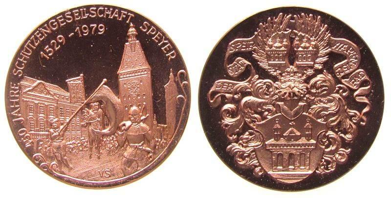 Medaille 1979 Speyer Kupfer Speyer - 450 Jahre Schützengesellschaft, Historischer Festzug / Stadtwappen aus dem 16. Jahrhundert, Entwurf von Viktor S vz-stgl