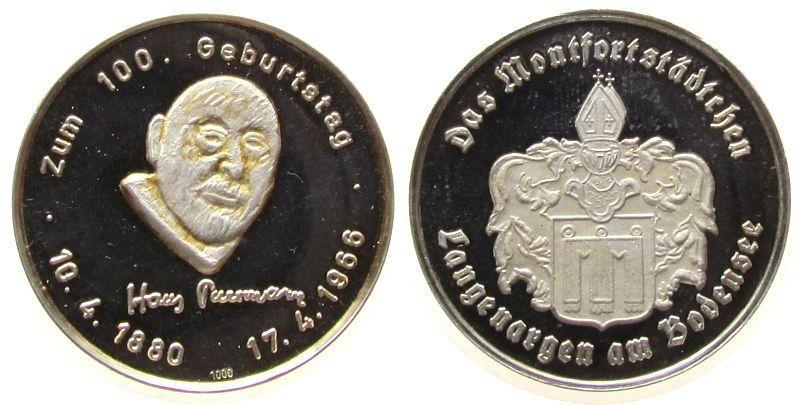 Medaille 1980 Speyer Silber Speyer - zum 100. Geburtstag von Hans Purrmann (1880-1980), Maler und Ehrenbüger der Stadt, Kopf von vorn / Wappen von La stgl
