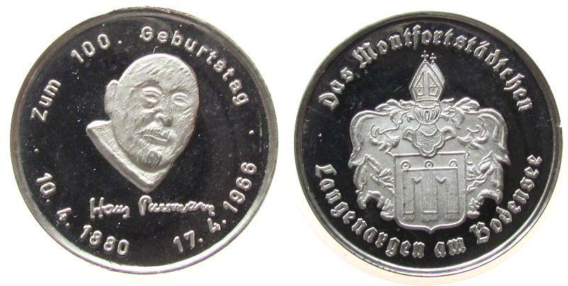 Medaille 1980 Speyer Zinn Speyer - zum 100. Geburtstag von Hans Purrmann (1880-1980), Maler und Ehrenbüger der Stadt, Kopf von vorn / Wappen von Lang vz-stgl