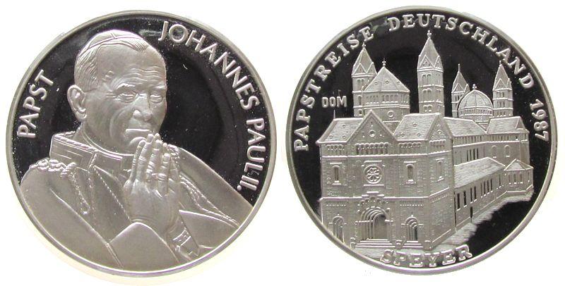 Medaille 1987 Speyer Silber Speyer - Seligsprechung von Edith Stein, und seiner Papstreise in Deutschland, Brustbild Papst Johannes Paul II / Dom zu stgl