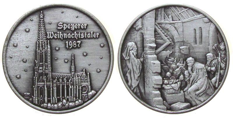 Medaille 1987 Speyer Silber Speyer - Weihnachtstaler 1987, Gedächniskirche / Krippenbild, ca. 35 MM, ca. 13.79 Gramm, Auflage: 200 Ex. stgl