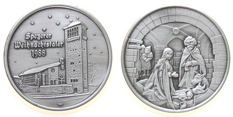 Medaille 1988 Speyer Silber Speyer - Weihnachtstaler 1988, St. Bernharduskirche / Krippenbild nach Riemenschneider, ca. 35 MM, ca. 14.41 Gramm, Aufl stgl