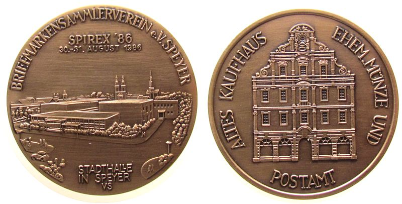 Medaille 1988 Speyer Weißmetall, bronzen Speyer - Briefmarken-Sammlerverein zur SPIREX, Stadthalle / Altes Kaufhaus, Entwurf: V. Sohn (Speyer), ca. 5 vz-stgl