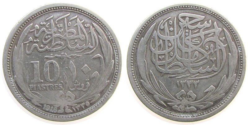 10 Piaster 1916 Ägypten Ag Hussein Kamil (1914-17) ss
