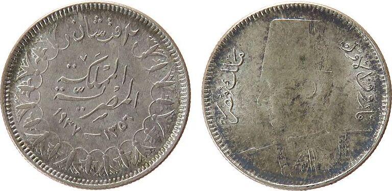 2 Piaster 1937 Ägypten Ag Fuad I (1922-52), Prägeschwäche vz-unc