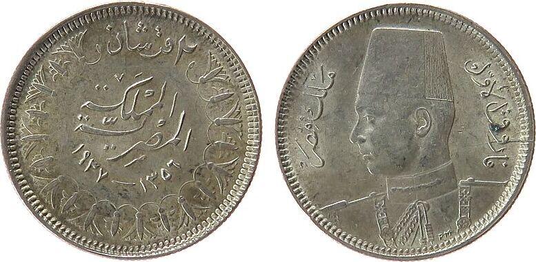2 Piaster 1937 Ägypten Ag Fuad I (1922-52), kleiner Fleck vz-unc