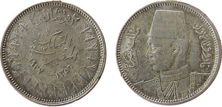 2 Piaster 1937 Ägypten Ag Fuad I (1922-52), leicht fleckig vz-unc