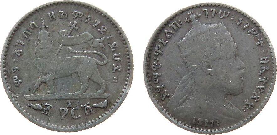 1/20 Birr 1903 Äthiopien Ag Menelik II, 1 Gersh ss-vz