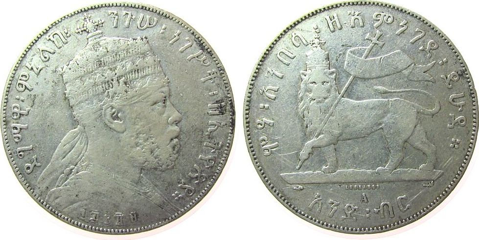 1 Birr 1897 Äthiopien Ag Menelik II, EE1889 fast ss