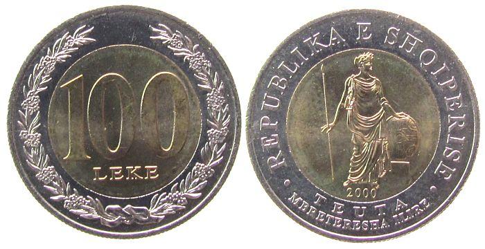 100 Leke 2000 Albanien Bi-Met. Teuta, Königin der Illyrer unz