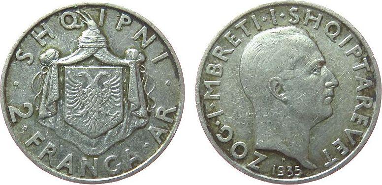 2 Franga 1935 Albanien Ag Zogu I ss