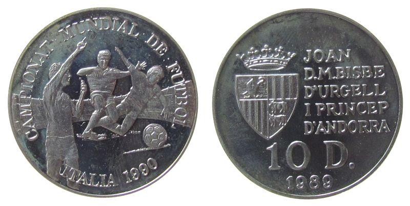 10 Deniers 1989 Andorra Ag Fußball WM, Vorteil, angelaufen pp