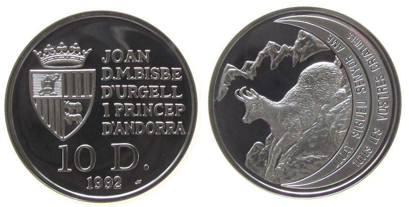 10 Deniers 1992 Andorra Ag Pyrenäengemse pp