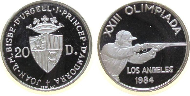20 Deniers 1984 Andorra Ag Olympiade Gewehrschütze pp