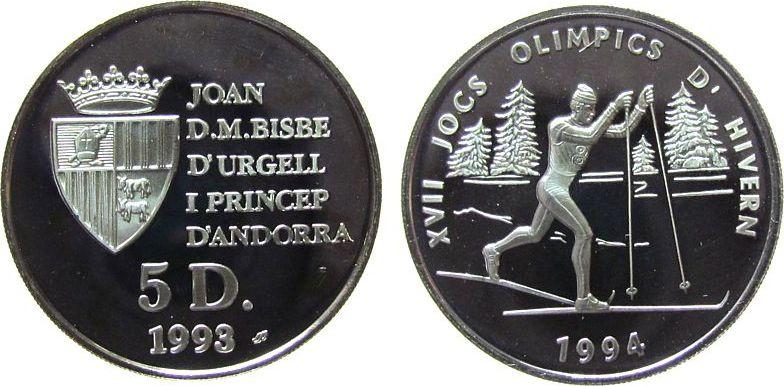 5 Deniers 1993 Andorra Ag Olympiade, Skilanglauf, etwas fleckig pp