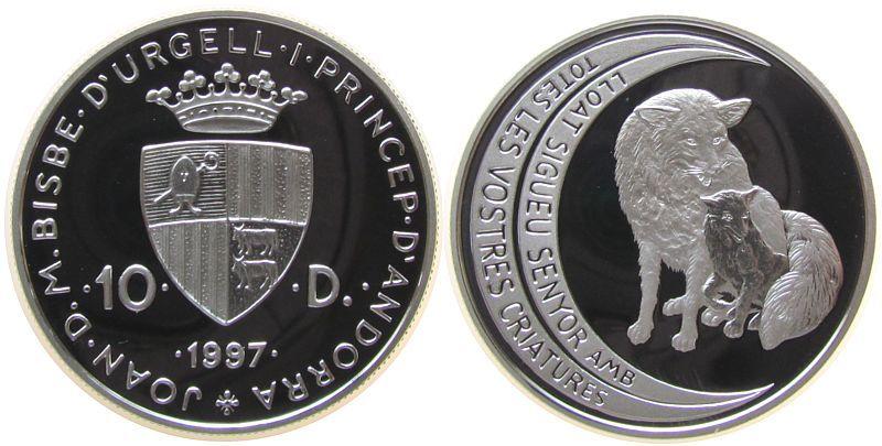 10 Deniers 1997 Andorra Ag Fuchs mit Jungem pp