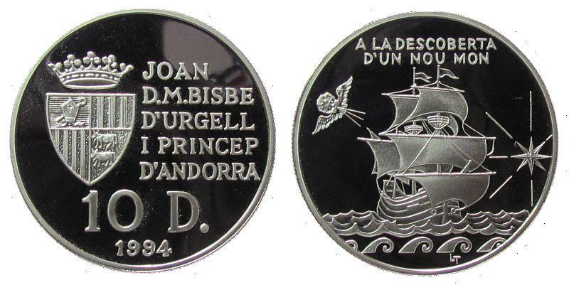 10 Deniers 1994 Andorra Ag Entdeckung der Neuen Welt, Segelschiff pp