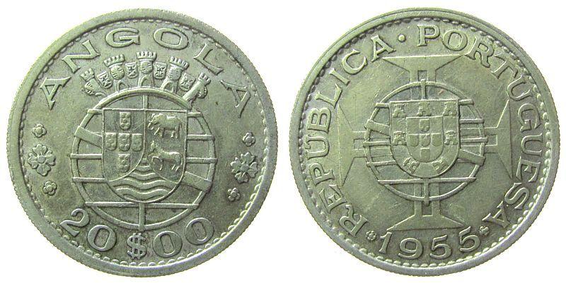 20 Escudos 1955 Angola Ag Wappen ss+