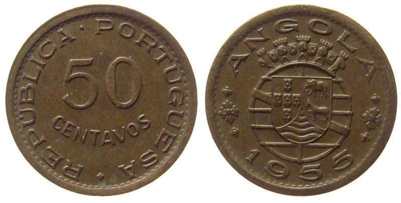 50 Centavos 1955 Angola Br Wappen vz