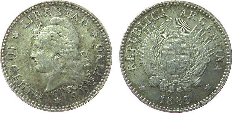 10 Centavos 1883 Argentinien Ag Frauenkopf, feiner Kratzer vz
